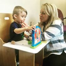 Speech Language Pathologist works with a JMCC client
