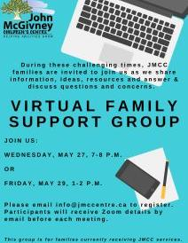 Virtual Family Support group flyer